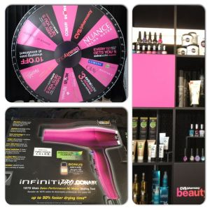 I spun the wheel and won a Conair blow dryer!